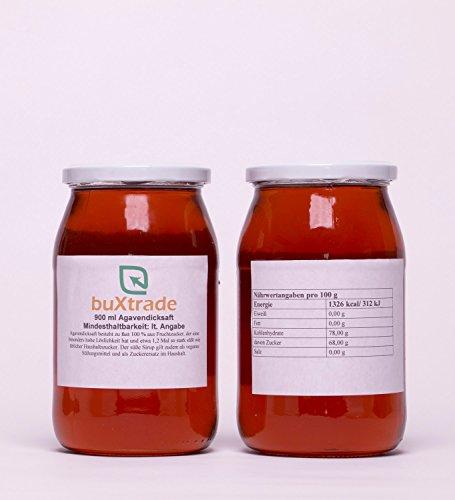1 Glas (900ml) Agavendicksaft - Agave Süßungsmittel Sirup Fructose Zucker Agavensirup