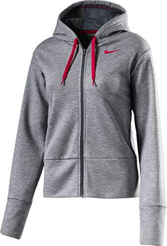 Nike Dry Hoodie Full Zip T-Shirt Femme, DK Grey Heather/Cool Grey/Rush, FR (Taille Fabricant : XL)