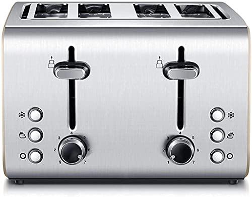 WHMWPB Toaster 4 rebanadas, tostadora totalmente automática, posición de hornear de 7 velocidades, barra de voltaje de hornear, chasis de recogida de chip-out, se puede descongelar y calentarse