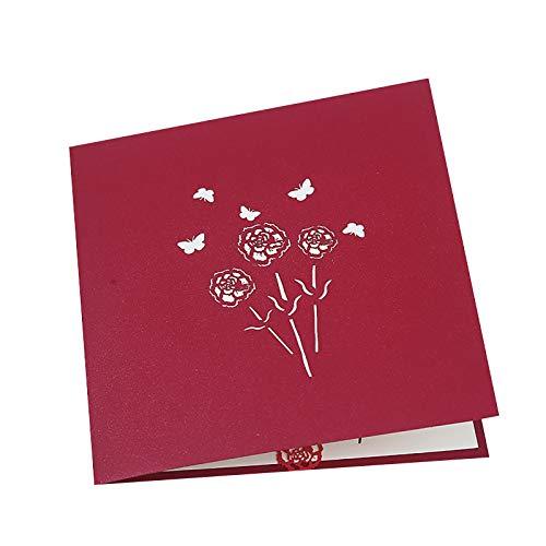 Muttertag Karte für die Mama Glückwunschkarte Geburtstagskarte Blumen Muttertagsgeschenk 3D Pop-Up Karte Geschenkidee Dankeskarte Karte zum Muttertag Muttertagsgeschenk Valentinstag Hochzeit Karte