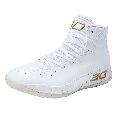Zapatos de Baloncesto Hombre Alto Antideslizante Zapatillas Altas Transpirable Zapatos Deportivos Aire Libre Ligeros Zapatos para Correr Transpirable Blanco Dorado 38
