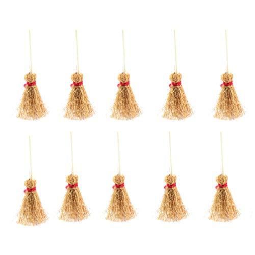 EXCEART 10 Stück Mini-Strohbesen mit Rotem Seil Kunststoff Kleine Hexenbesen Kostümbehänge Dekorationen Spielzeug für Zauberer Halloween Party Begünstigt Spukhaus
