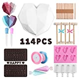 114Pcs Heart Shaped Silicone Molds Set with Big Heart Shaped Mold,Number and Letter Mold,Popsicle Mold,6 Cup Diamond Heart Shaped Cake Chocolate Silicone Cake Candy Jelly pudding Mold Making