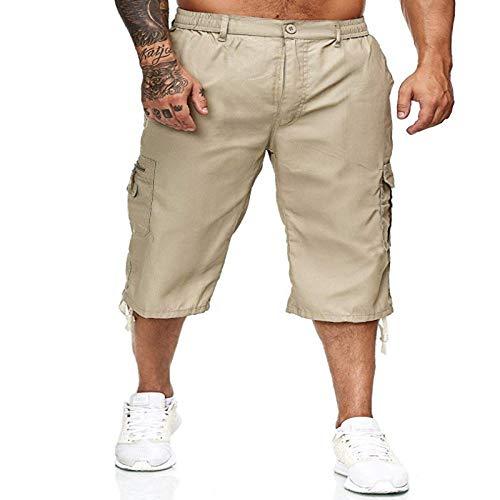 Pantalones Sueltos recortados para Hombres Moda callejera con múltiples Bolsillos Moda de Color sólido Deportes al Aire Libre Pantalones Cortos Casuales con Botones L