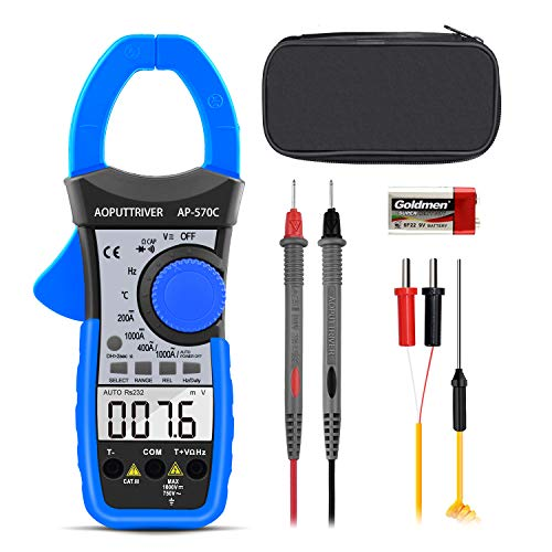 Digital Clamp Meter dc amp meter AOPUTTRIVER AP-570C 4000 Counts Auto-ranging Multimeter with Amp,Volt,Ohm,Capacitance,Diode,Frequency,Continuity Buzzer,Temperature with Backlight