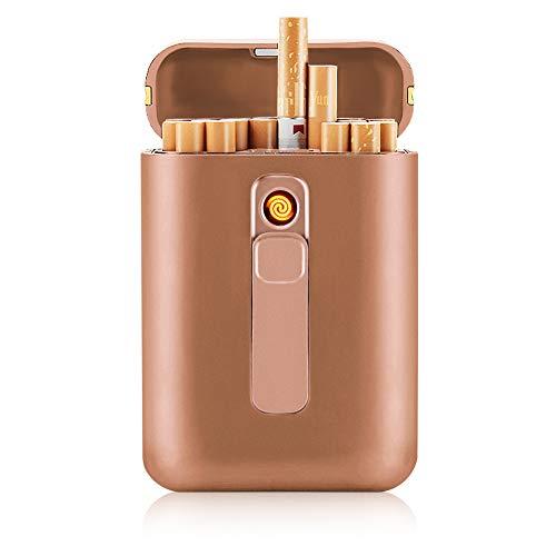 SANSH Zigarettenetui mit Feuerzeug, Zigarettenbox, für 20 Stück normale Zigaretten, tragbar, King-Size-Zigaretten, USB-Feuerzeug, wiederaufladbar, flammenlos, winddicht, elektrisches Feuerzeug, gold
