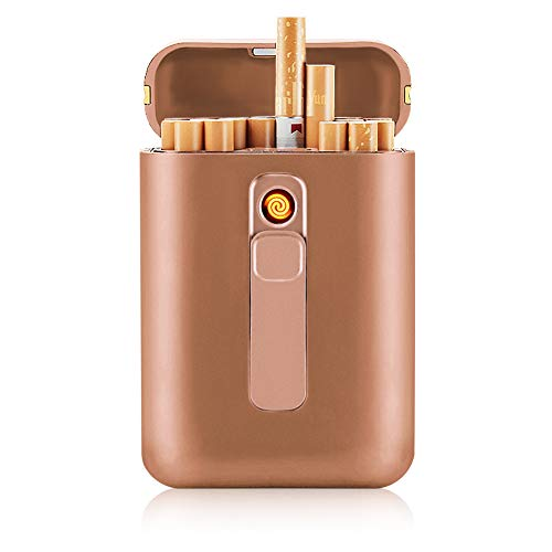 Cigarette Case with Lighter Cigarettes Box King Size Portable Pack 20pcs Regular Size Cigarettes USB Lighters 2 in 1 Rechargeable Flameless Windproof Electric Lighter(Gold)