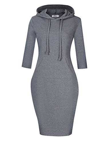 MISSKY Women's Pullover Pocket 3 4 Sleeve Slim Gray Sweatshirts for Women (2XL,Grey)
