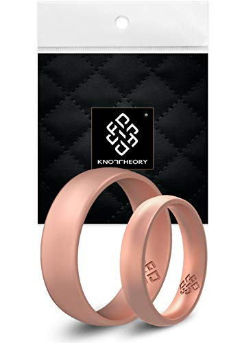 Knot Theory Rose Gold Silicone Ring for Women – Breathable Wedding Band 4mm Size 9 – October Birthstone Tourmaline Pink Anniversary Present for Her – Engagement Friend Mother Daughter Rings
