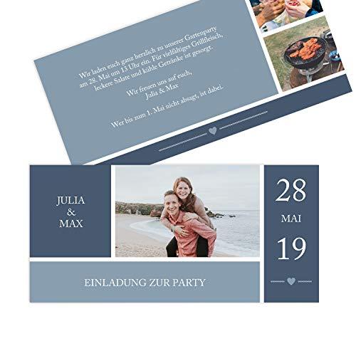 Hoogwaardige uitnodigingskaarten voor verjaardag (1-99 jaar), designs naar keuze, verjaardagsuitnodiging met druk van eigen teksten, levensboom, groen, verjaardagskaarten 5 Stück Mit Herz