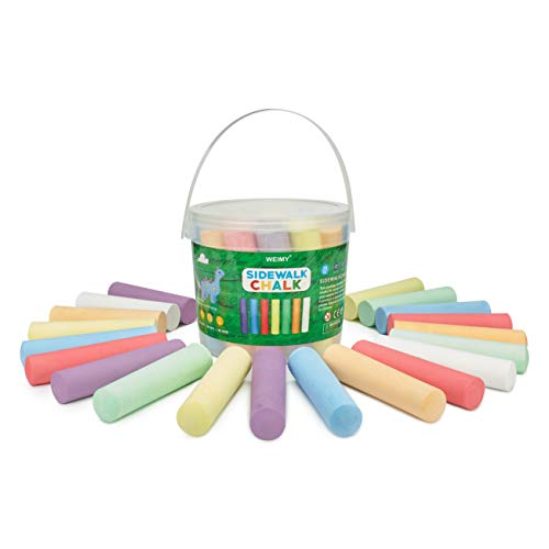 WEIMY Sidewalk Chalk Bucket, 20 Pieces 7 Colors Outdoor Street Chalk For Kids Drawing Graffiti, Washable Non toxic Chalk Bucket Portable, Paint on Chalkboard Blackboard and Playground(20Pieces)