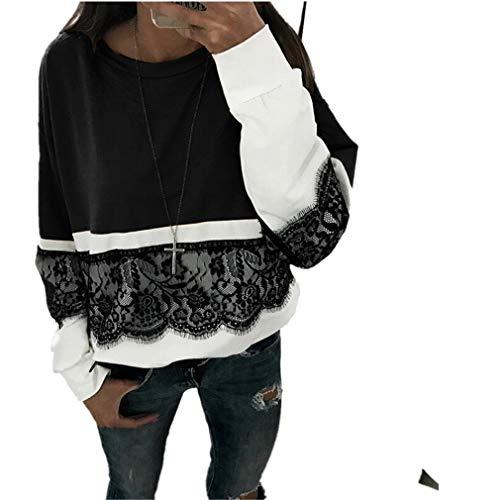 MEIbax Damen Herbst Casual Langarm Spitze Pullover Patchwork Sweatshirt T Shirt Bluse Tops Baggy Oberteile