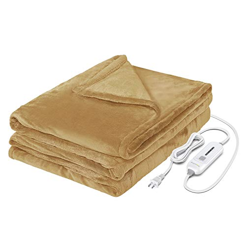 WAPANEUS Electric Heated Blanket with 3 Heating Levels and Auto Shut Off, Soft Plush Heated Throw...
