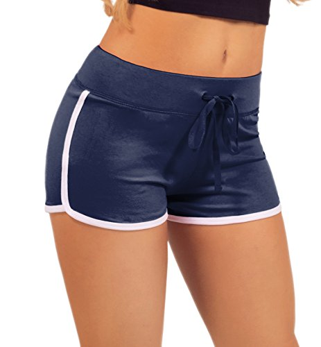 Women's Elastic Waist White Outline Active Lounge Shorts, Navy, Small