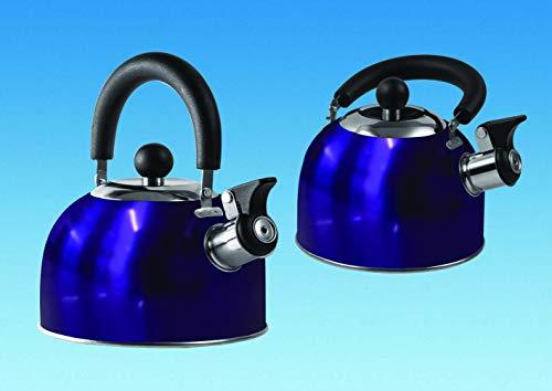 Blue 1.6 Litre Gas Hob Kettle with Folding Handle Caravan...