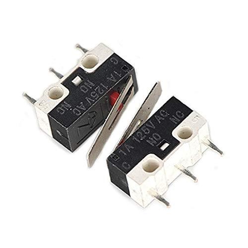 JSJJAWA Cambiar 5pcs / Lote Interruptor de botón Micro Interruptor de pulsador de 3 Pines 1A 125V CA Mini Interruptor táctil de luz para Mouse Componente electrónico