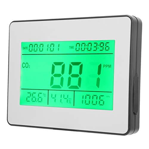 Qqmora Detector de CO2, Rango de 0~9999ppm, medidor de dióxido de Carbono, Seguimiento en Tiempo Real para el Kit de probador preciso de la Oficina en casa(European regulations)