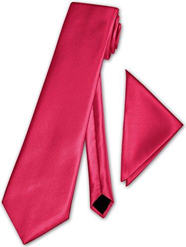 Herren Krawatte klassisch mit Einstecktuch Klassik Anzug Satinkrawatte - 30 Farben (Pink)