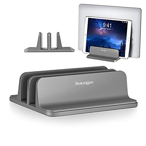 Hivexagon 2 Steckplatz Vertikal Laptop Ständer Anpassbar Dockgröße 16mm to 40mm Aluminum Platzsparend passt den meisten Laptops PC099