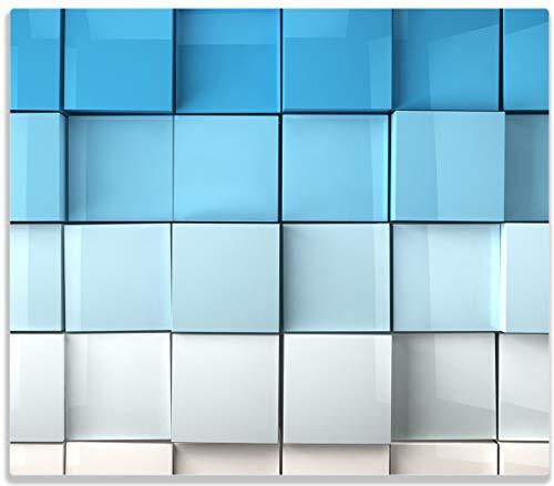 Wallario Herdabdeckplatte/Spritzschutz aus Glas, 1-teilig, 60x52cm, für Ceran- und Induktionsherde, Blau-weiße Kisten Schachteln Muster