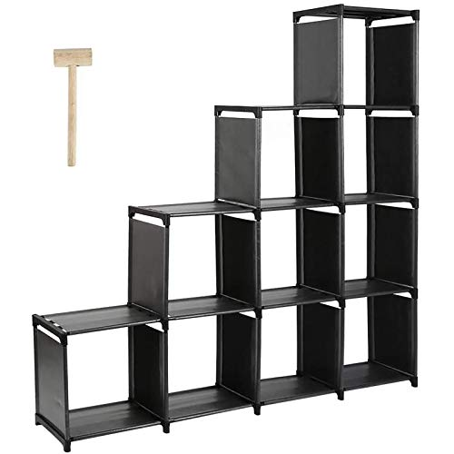 DazHom 10-Cube Storage Rack, Staircase Organizer Modular Bookcase, DIY Storage Closet Shelf, Bookcase in Living Room, Children's Room, Bedroom for Toys and Daily Necessities, Black
