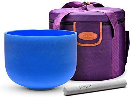 TOPFUND cuencos Perfect pitch G Nota Crystal singing bowl chakra de la garganta color azul 8 pulgadas (o ring y Mallet incluido)