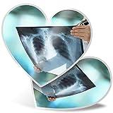 Impresionante 2 pegatinas de corazón de 7,5 cm – Radiografía de pulmón con radiografía Doctor Fun calcomanías para portátiles, tabletas, equipaje, libros de chatarra, frigorífico, regalo genial #21814