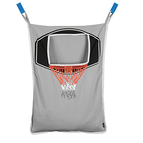 Avery Barn Hanging Over The Door Kids Laundry Basket for Boys or Girls - Dirty Clothes Hamper Bag with Easy Zipper Release Bottom - Great for Bathroom or Bedroom - Basketball Hoop Goal