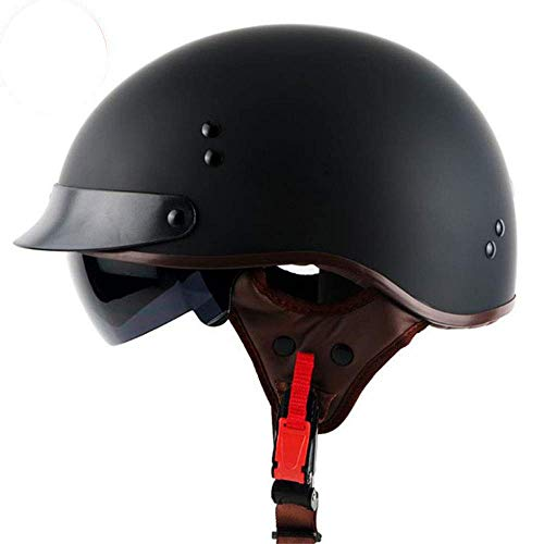 ZOLOP Retro Motorradhelm Halbhelm, Harley Vintage Cruiser MOTO Jet Helm, Integrierte Sonnenblende DOT-zertifiziert, Jethelm für Männer/Frauen Brillenträger (F12, XL)