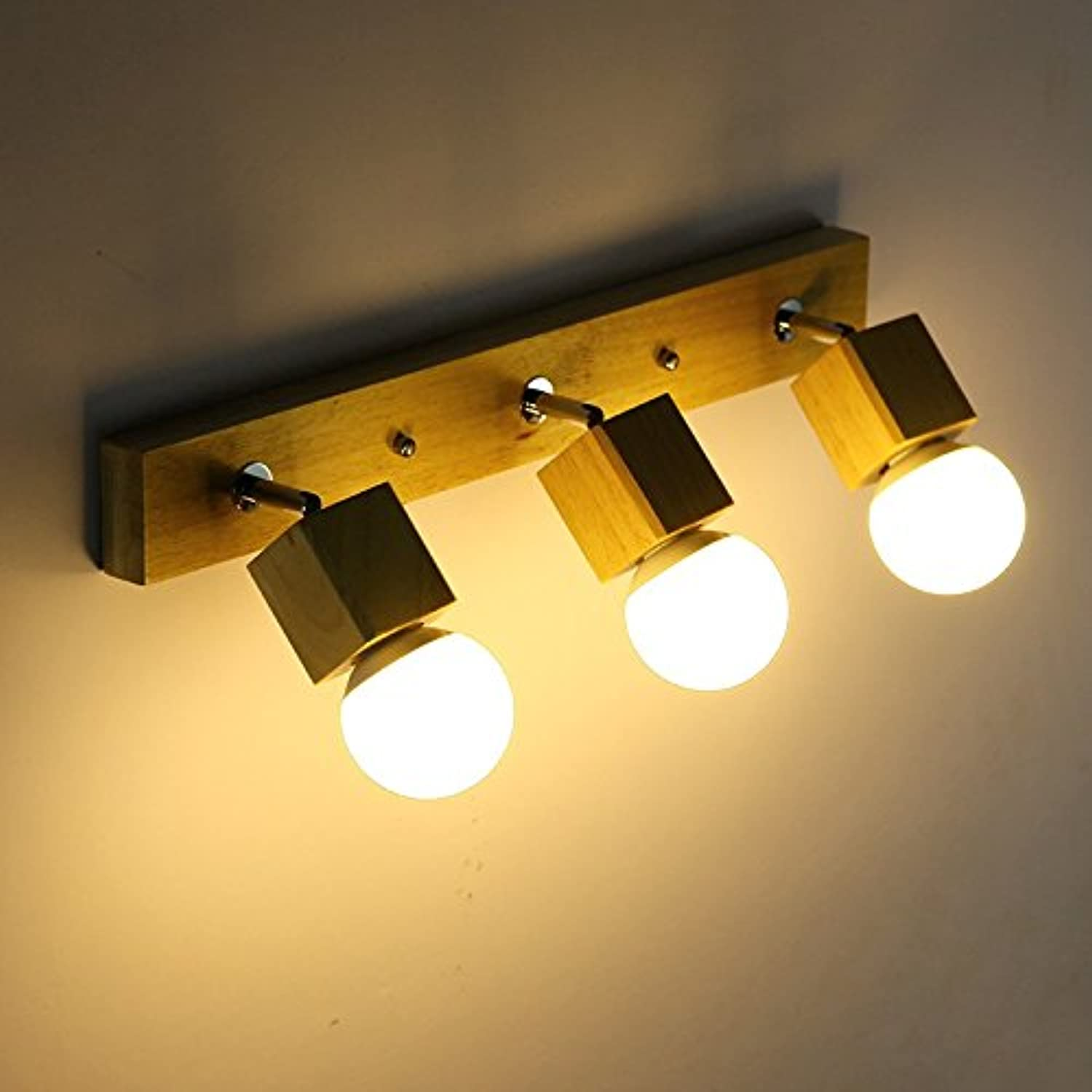 Creative Wooden Wall Simple Life Bedroom Mirror Front Makeup Center Channel Lighting Area Wall Lamp
