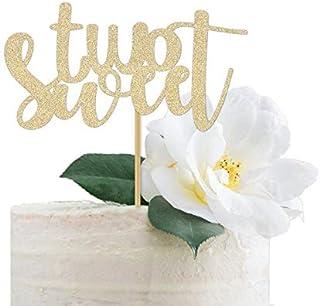 DKISEE Tarjeta con purpurina para dos dulces para tartas/decoración de fiesta de cumpleaños para niña/primer letrero de de...