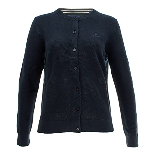 GANT Cotton Pique Cardigan, Blu (Evening Blue 433), XX-Large Donna