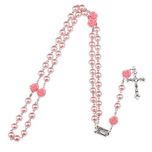 Yuccer Collar de Rosario, Católico Collar Perlas Rosario Suelo Santo Colgante Cruzado Collar con Bolsa de Regalo, Regalos de Bautismo para Niños y Niñas (Pink Pearl)