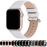 Fullmosa Correa de Apple Watch, 38 mm 40 mm 42 mm 44 mm Correa Compatible con iWatch, Correa de Cuero, Compatible con Apple Watch SE y Serie 6 5 4 3 2 1, Blanco + Hebilla de Oro Rosa, 38mm/40mm