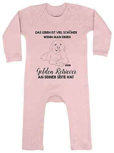 """HARIZ Pelele para bebé con texto en alemán """"Das Leben ist viel Schöner Golden Retriever"""", tarjetas de regalo, algodón de azúcar, color rosa, 6-12 meses"""