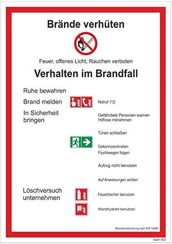 Brandschutzordnung Teil A Brände verhüten DIN 14096 Aushang Schild Aufkleber BSO made by MBS-SIGNS in Germany