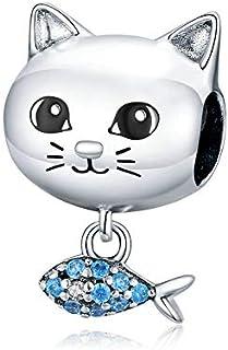 Ciondolo in argento Sterling 925 con ciondolo a forma di gatto e pesce, adatto per braccialetti e collane Pandora