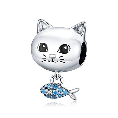 Colgante pequeño de plata de ley 925 con diseño de gato y pez, compatible con pulseras y collares Pandora