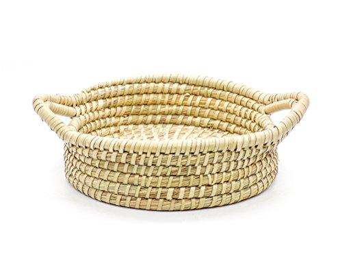 ASK Flechtkörbchen mit Griffe rund Flechtkorb aus Kaisa-Gras Handgeflochten Aufbewahrung Deko Korb Fair Trade (18cm)