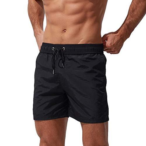 Xmiral Badehose Herren Verstellbarem Kordelzug Elastisch Taille Boxer Strandhosen Schnelltrocknend Plus Größe mit Tasche(z1 Schwarz,M)