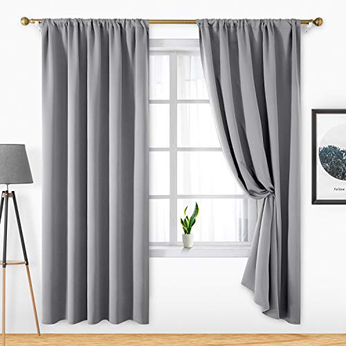 HOMEIDEAS 2 Panels Light Grey Blackout Curtains Light Gray Pocket Curtains for Bedroom, 52 X 84 Inch Room Darkening Curtains, Thermal Insulated Window Treatment Curtains/Drapes for Living Room