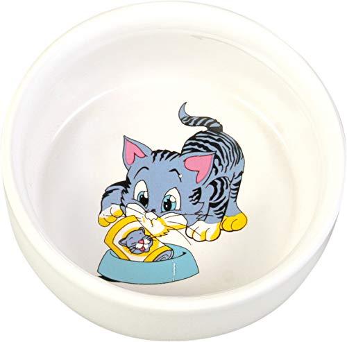 Trixie Keramikschale mit Katzenmotiv, 0,3 Liter, weiß