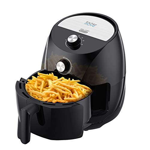 Kitchen Move eléctrico sin aceites, freidora de aire caliente, 3,5 l, Tornado 1400 W, rápido con un toque con consejo de cocina, 3,5 litros, negro