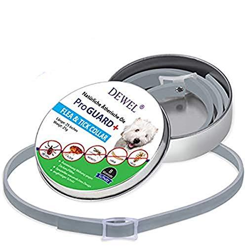 DEWEL Zecken Halsband für Hunde und Katzen,8 Monate Kontrolle Schutz und Verstellbar Größe Zeckenhalsband