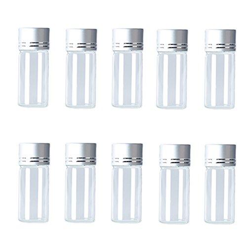 Hustar 10 Stück 10ml Mini Klar Glasflaschen Ätherisches Öl Flasche Klein Probe Fläschchen mit Schraubverschluss