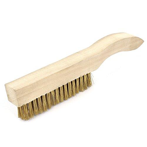 sourcingmap Longueur : 27 cm métallique en laiton avec manche en bois, brosse de nettoyage à main