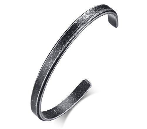 Vnox Nome personalizzato in acciaio inossidabile da uomo Data Personalizza Bracciale aperto in peltro diametro 61 mm,incisione gratuita