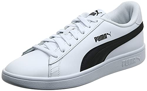 Puma Smash V2 Leather - Scarpe da Ginnastica Unisex - Adulto, Bianco (Puma White-Puma Black), 42 EU