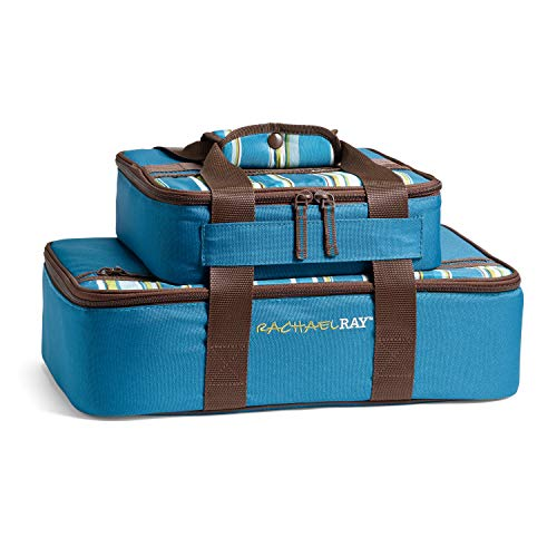 Rachael Ray Lasagna Lugger Combo, Marine Blue Stripe Casserole Carrier Set, 13X9 and 9X9