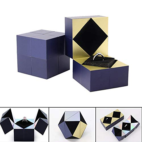 ZYAO Rubiks Cube Jewellery Box Creativity Proposal Ring Bracelet Necklace Pendant Box for Propose and Confession Surprise Gift